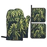 Juego de 4 manoplas y soportes para ollas,hierba verde,brote de cannabis,plantas de marihuana,marihuana,cáñamo,índica,cultivo agrícola,guantes de poliéster para barbacoa