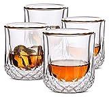 Bicchieri da whisky Doppia parete, bicchieri da cocktail, occhiali scozzesi, vetro vecchio stile, vetro rocce, bicchieri di cristallo, bicchieri di vodka, bicchieri da bere, regali, set di 4 Decanter