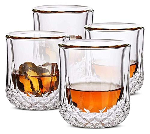whiskey decanter Whiskey Glasses Double Wall, Cocktail Glasses, Scotch Glasses, Old Fashioned Glass, Rocks Glass, Crystal Glasses, Vodka Glasses, Drinking Glasses, Gifts, Set of 4 whiskey glasses