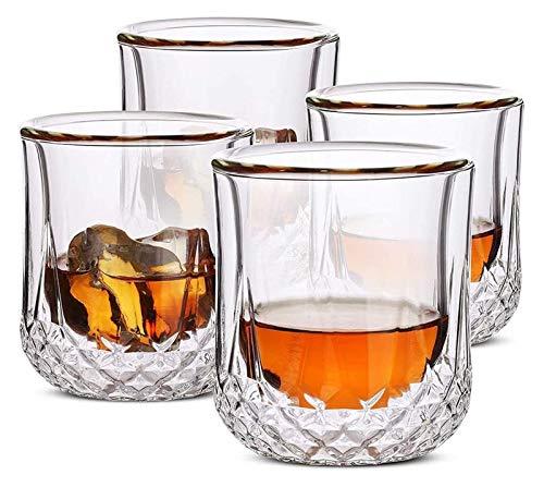 SYZHIWUJIA Gafas de Whisky de Pared, Gafas de cóctel, Gafas escocesas, Vidrio Antiguo, Vidrio de Rocas, Gafas de Cristal, Gafas de Vodka, Copas de Beber, Regalos, Conjunto de 4 Licorera