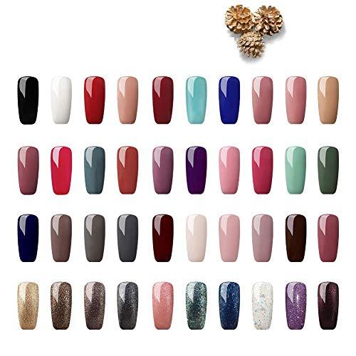 Saint-Acior 40 Farben Gel Lack UV Nagellack Set Gelnägel Lacken 8ml Nail Gel uv Gel Farbgel Set Weihnachtsgeschenk für Frau