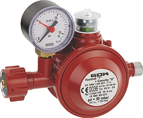 GOK Haushaltsregler / Gasregler für den Einsatz in geschlossenen Räumen, Betriebsdruck:50 mbar 1,5kg/h PS16Bar