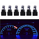 WLJH Canbu Extremely Bright T5 74 27 37 73 Led Light Bulb with PC74 Twist Sockets for Car Dash Instrument Panel Cluster Speedometer Warning Indicator Backlighting Blue,Pack of 6