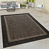 Paco home alfombra de tejido plano interior y exterior moderna ribetes motivo oriental antracita, tamaño:160x220 cm