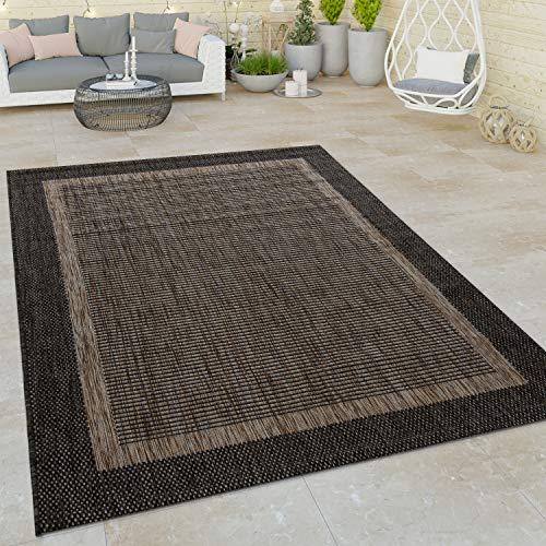 Paco Home In- & Outdoor Flachgewebe Teppich Modern Bordüre Natürlicher Look In Braun, Grösse:120x160 cm