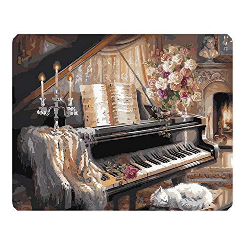 Small Lake Malen nach Zahlen Öl Null Basis DIY Malen nach Zahlen Handgemaltes Ölgemälde Klavier Bild Färbung Benutzerdefinierte Foto Wanddekoration-99090-40x50cm Kein Rahmen,