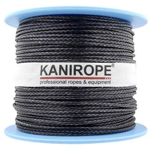 Kanirope® Dyneema Seil PRO 1mm 100m Schwarz 12-fach geflochten SK78 verstreckt beschichtet