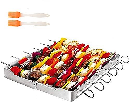 EMAGEREN Porta Spiedini per Barbecue Griglia in Acciaio Inox Griglie per Arrostire per Barbecue Set di 6 Spiedini per Barbecue in Acciaio Inox + 1 Griglia + 2 Spazzola per Barbecue in Silicone