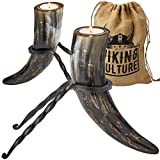 Viking Culture Horn Tealight Candle Holder Set with Wrought Iron Stands, Rustic Home Decor for Modern, Vintage or Farmhouse Styles, Vintage Burlap Storage Bag