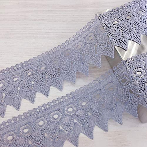 7 Yards Wide Lace Trims Lace Ribbon by The Yard Floral Vintage Crocheted Lace Trimming for DIY Sewing Craft Supply, Gift Wrapping, Bridal Wedding Decorations, Curtain, Sofa, Quilt-Grey