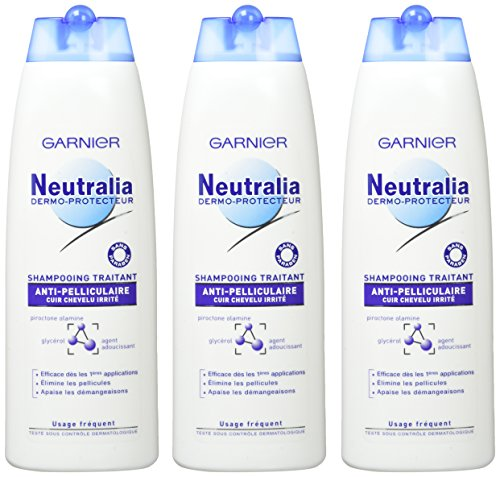 puissant Garnier-Neutral Rear Dermo Protector-Anti-Dandruff Shampoo-Set de 3