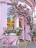 TIANZXS 5D DIY Pintura de Diamante Pintura de Diamante Bicicleta Bordado de Diamantes Completo Flor Rosa Punto de Cruz Mosaico Kit de Manualidades decoración del hogar 40x50cm sin Marco