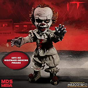 Pennywise The Dancing Clown from IT (2017) has again emerged from the sewer of Derry! Mezco's Mega Scale Talking Pennywise stands at a forbidding 15-inches tall, is dressed in a real cloth clown suit, is fully articulated and says some of his most ni...