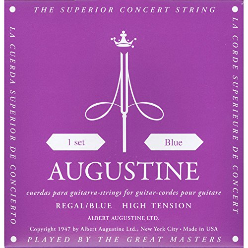 Augustine Klassik Gitarrensaiten Regals Label Satz Blue Extra High Tension/Bassaiten High Tension, HLSETREGBLUE