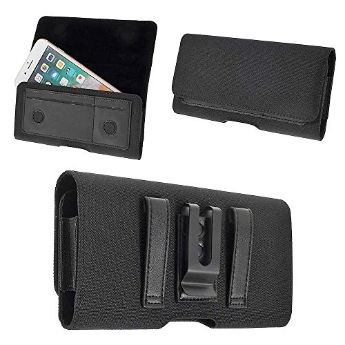 DFV mobile - Nylon Case Metal Belt Clip Horizontal Textile and Leather for ALCATEL One Touch Pop 4 5051X (2016) - Black