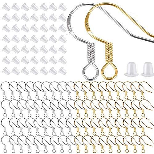 Fransande 400 piezas / 200 pares de ganchos de pendientes de plata y oro, hipoalergénicos para pendientes de pescado