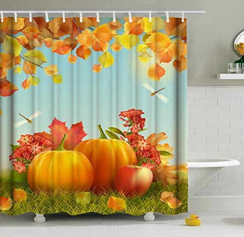 ShineSnow Erntedank-Duschvorhang-Set, Motiv Herbstkürbis, Apfel, Libelle, 152 x 183 cm, Heimdeko, Badezimmerzubehör, Wasserdichte Polyester-Gardinen 60