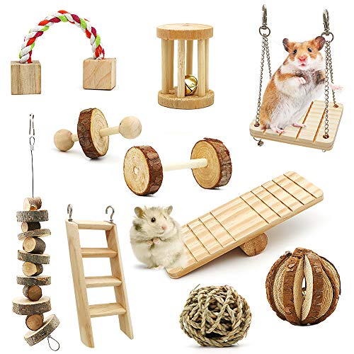 ZALALOVA Hamster Chew Toys, 10Pack MSDS Approved Natural Wooden Pine Guinea Pigs Rats Chinchillas Toys Accessories Dumbells Exercise Bell Roller Teeth Care Molar Toy for Bunny Rabbits Xmas Gift