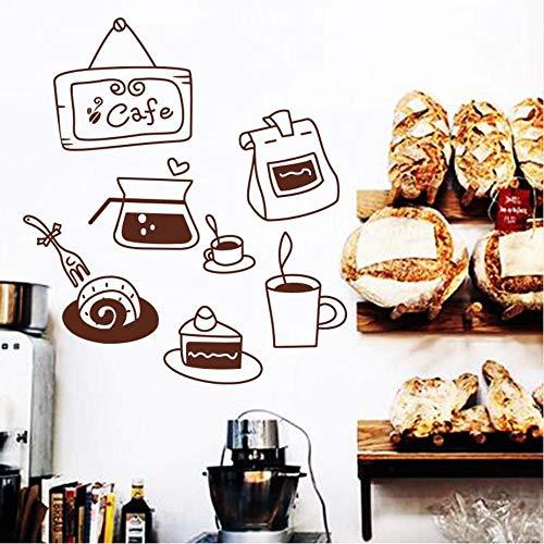 Olivialulu Art Koffie Snack Patroon Muursticker Of Collage voor Koffie Shop Glas Keuken Muur en Koelkast Grootte Medium PVC Materiaal Aanpasbaar