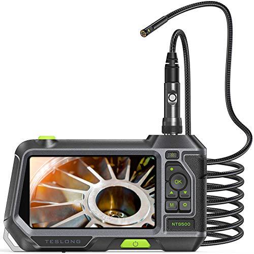 Teslong Zwei Linsen Industrielles Endoskop Kamera Mit 5 -Zoll -Farb-IPS-Bildschirm, 3500mAh Batterie,1080P Inspektionskamera mit 6 Einstellbare LED-Leuchten, 32GB TF Karte, Werkzeugkasten (9.8ft)