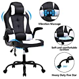 Massage Gaming Chair Ergonomic Racing Chair PU Leather Executive High Back Computer Chair, Rolling Task Adjustable Swivel Chair,with Lumbar Support Headrest Armrest Footrest Task Chair for,White