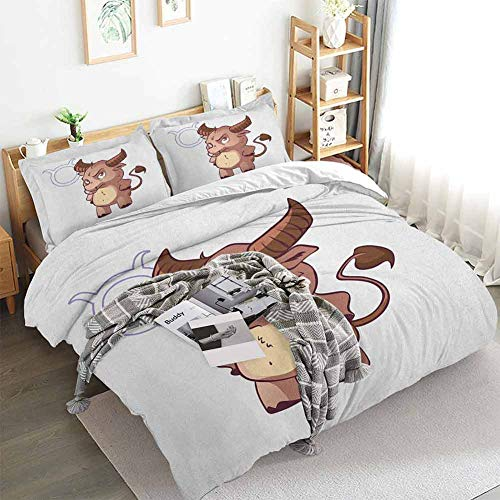 Zodiac Taurus Duvet Cover Set,Funny Caricature Horned Animal Little Baby Bull with Cool Look Simple Symbol,Decorative 3 Piece Bedding Set with 2 Pillow Shams,Twin(68'x90') Multicolor