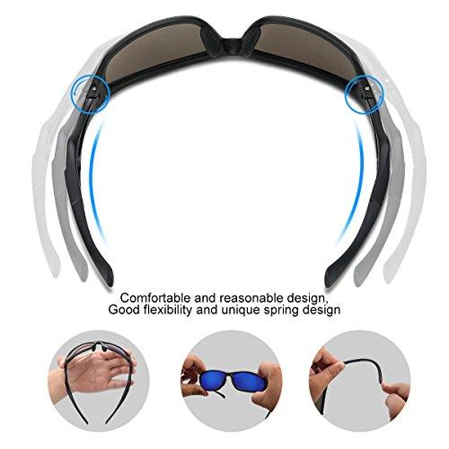 Occffy Polarisierte Sportbrille Sonnenbrille Fahrradbrille mit UV400 Schutz für Herren Autofahren Laufen Radfahren Angeln Golf TR90 (599 Schwarze Matte Rahmen mit Blaue Linse) - 6
