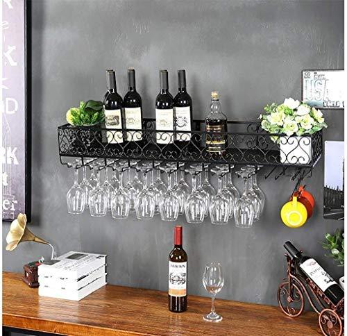AERVEAL Tenedor de Vino Montado en la Pared Estante de Vino Colgante de Vino Titular de la Copa | Alenamiento Del Titular de la Botella de Vino de la Vendimia,Negro,60X25Cm