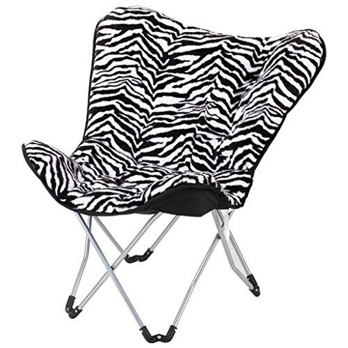 WDWL Faltender kampierender Stuhl-Licht-tragbarer Fischen-Strand-Stuhl-Reise im Freien, der Sitz skizziert WD (Color : Zebra)