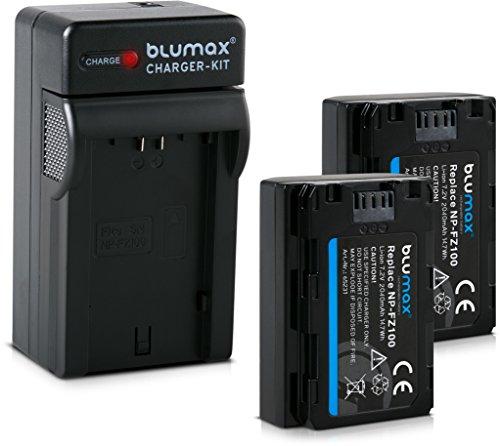 Blumax 2X Akku kompatibel mit Sony NP-FZ100 2040mAh + Ladegerät   passend für Sony Alpha 7RM3, 7M3 / 7 III/Alpha 7R III / 7R IV / 7SIII / Alpha 9 II / A9S - 100% kompatibel