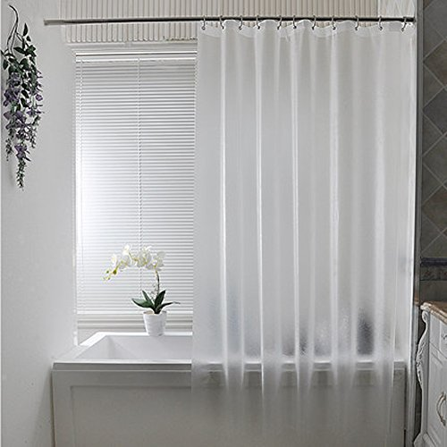 JundDSU Extra Lange duschvorhang, Mehltau-Frei Singt Dusche-Liner Badezimmer Wasserdicht mit Haken,Semi-Transparent-Transluzent 200x180cm(79x71inch)