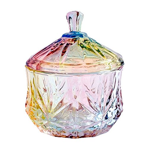 FLYING BALLOON Elegant Embossed Colorful Crystal Glass Candy Box with Lid Food Jewelry Box Storage Jar Best Gift for Family Friends
