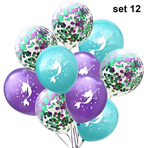Lemon-Land 10 stks 12 inch Baby Douche Kids Latex Event Decor Glitter Confetti Zeemeermin Ballonnen Bruiloft Verjaardag set 12 Zwart