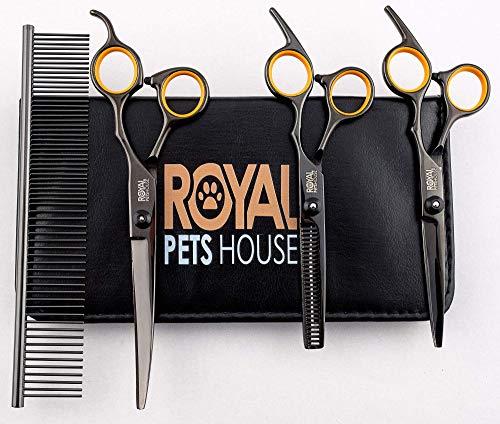 Royal Pets House - Juego de tijeras de aseo profesional para mascotas (7 pulgadas, 4 piezas, para perros y gatos con puntas redondeadas para seguridad con funda de piel, de acero inoxidable