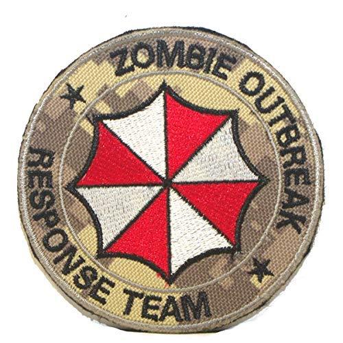 Cobra Tactical Solutions Resident Evil Zombie Outbreak Response Team Parche Bordado Táctico Moral Militar Cinta Adherente de Airsoft Cosplay Para Ropa de Mochila Táctica (Digital Camo)