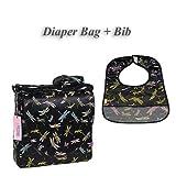 I Frogee Brocade Diaper Bag & Bib Set in Black Dragonfly Print