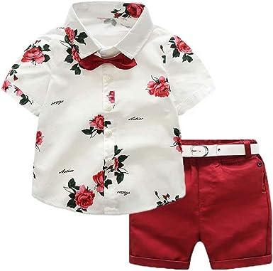 Conjunto Niño Bebé Verano Gentleman Camiseta de Manga Corta Pantalón Corto Ropa Bautizo de 2 Piezas Traje Formal Camisa con Estampado Floral y ...