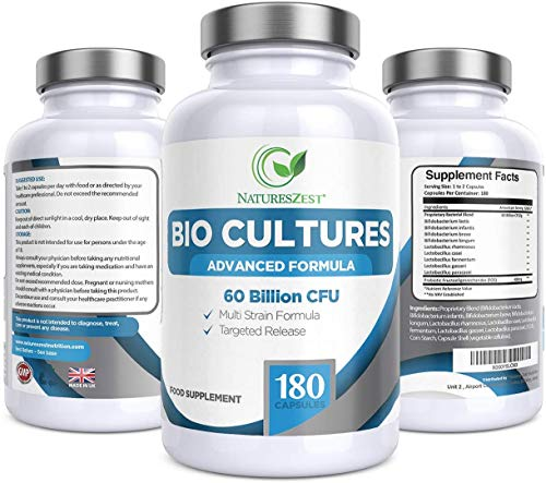Natures Zest 60 Billion CFU Bio Cultures Probiotics with Prebiotics 180 Capsules Highest Strength 9 Strain Ultra Formula for Adults (Men/Women) Food Supplement – 6 Months' Supply