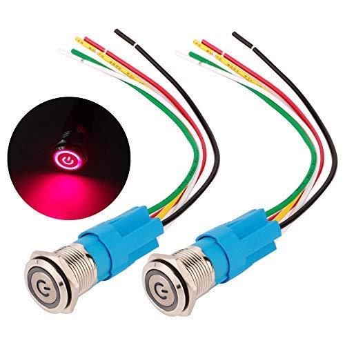 Gebildet 2 Piezas 16mm Enclavamiento Pulsador de Botón Metálico Interruptores Acero Inoxidable Impermeable Plana Top ON/Off 12V-24V 5A Pulsador con Enchufe de Cable(LED Rojo)