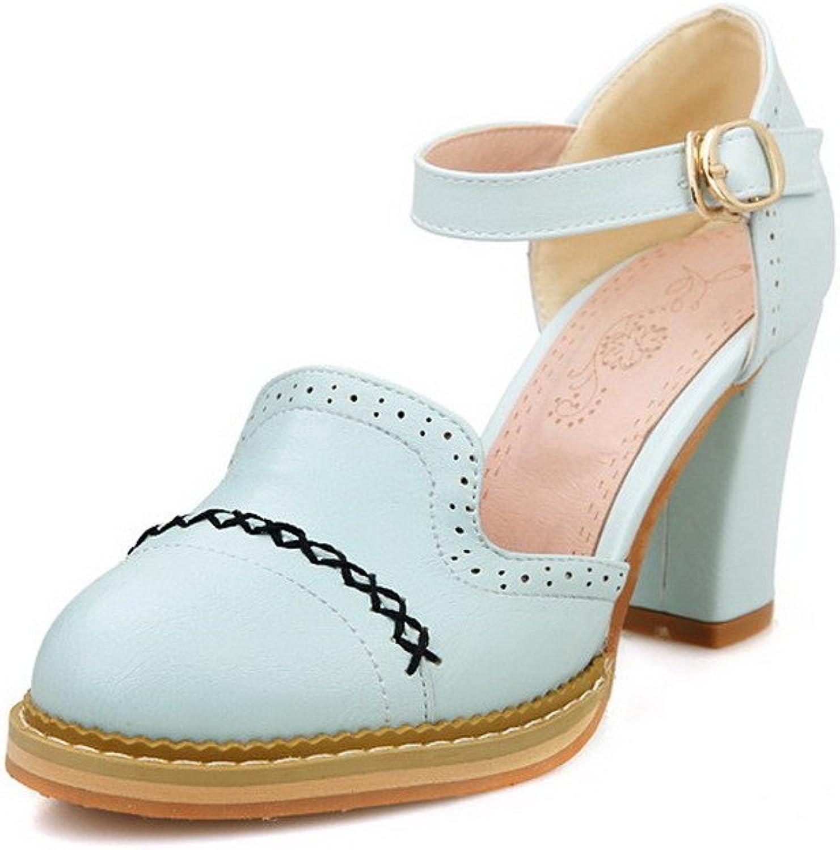AllhqFashion Women's Round Closed Toe Buckle PU Solid Kitten-Heels Sandals