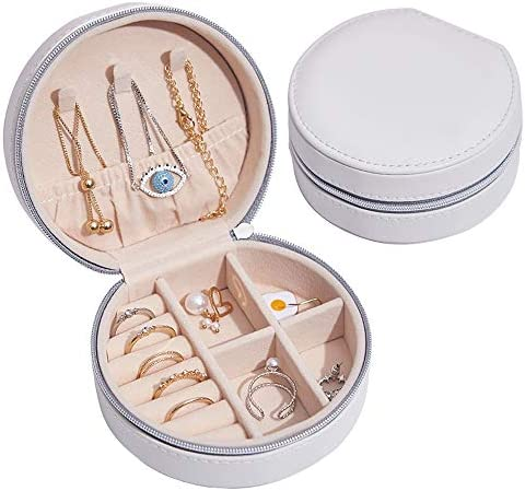 Bausweety Travel Jewelry Box Round Jewelry Organizer with Faux Leather Necklace Earrings Rings product image