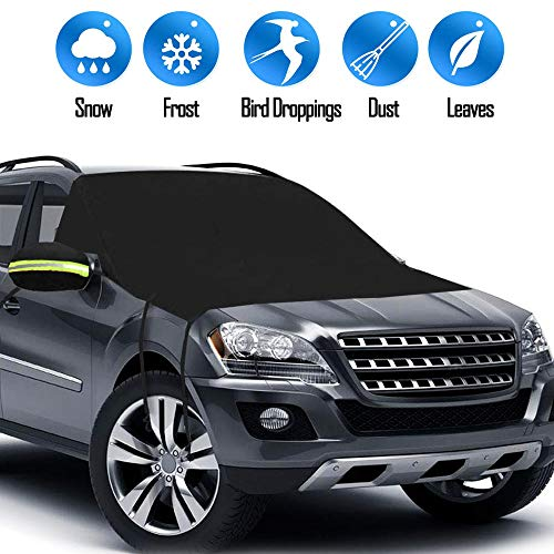 Big Ant Windshield Snow Cover, Magnetic Windshield Cover for Snow and Ice Protector Reflective Warning Bar on Mirror Covers - Ice Frost and Wind Proof Car Cover Fit for Most Vehicle SUV Trucks Vans