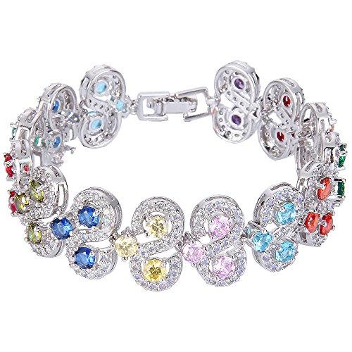 EVER FAITH Damen Zirkonia Art Deco S-Form Roman Tennis Prom Armband Armreif Multicolor Silber-Ton