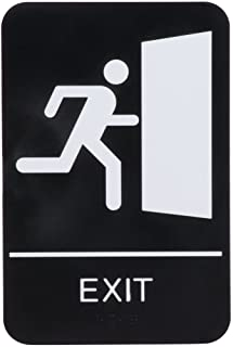 black and white exit sign