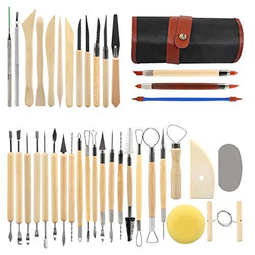 LinStyle 38 Pièces Outil en Céramique Set, Kit D'outils Poterie avec Sac de Rangement, Outils de Sculpture pour Le Modelage, Le Lissage, La Sculpture et La Céramique