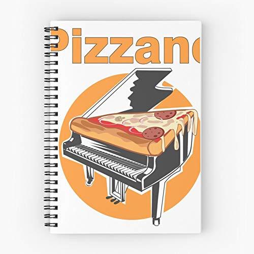 Piano Food It Pizza Nettes Schul-Fünf-Sterne-Spiral-Notizbuch mit haltbarem Druck