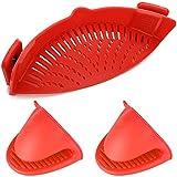 Colador de silicona con clip,filtro de drenaje resistente al calor de manos libres YuCool para colador y colador a presión en tazones, ollas y sartenes,con 2 guantes de silicona,rojo