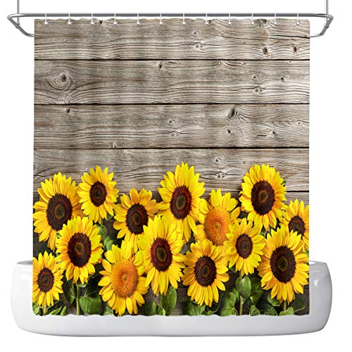 DePhoto Sunflower Shower Curtain, Country Farmhouse Wood Panel Polyester Fiber Bathroom Decoration kit (with 12 Hooks), 72x72 inches, Yellow and Brown