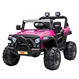 TOBBI 12v Kids Ride On Truck with Remote Control, Battery Powered Ride on Toy Car w/ Music, MP3, Safety Belt, Rose Red
