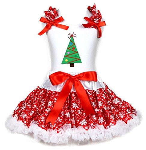 Disfraz de árbol de Navidad blanco camiseta de algodón rojo copo de nieve falda chica Set 1–8Y